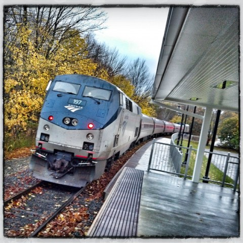 the train has left the (freeport) station. test run. service begins nov. 1.