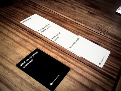 white card holders choose the answer they think black card holder would choose. if black card holder chooses your card, s/he gets your card. person with most black cards win. #fun, #goodTimesWithEricDarrinClaireMichael
