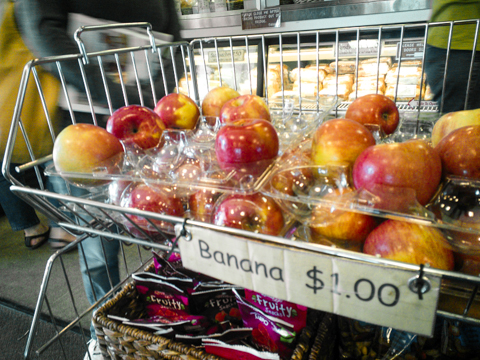 In anacortes off the coast of washington and they don't seem to know their fruits very well.