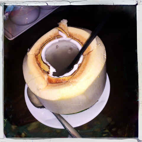 coconut water served in its own husk (note 1/4 inch of spoon scrape-able suck-thru-a-straw #foodiePorn on the inner walls) at lemongrass at the aria, las vegas.