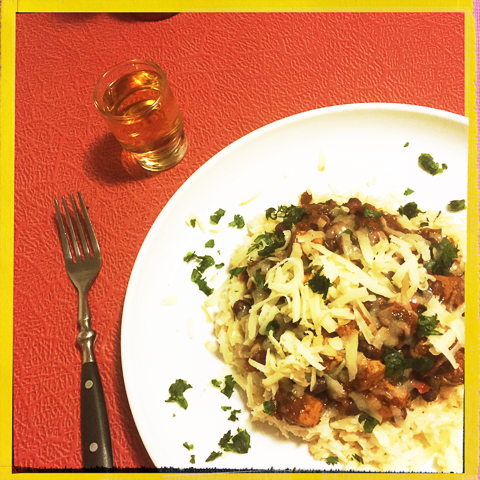 over brown rice, topped with maple smoked cheddar and fresh cilantro. paired with herrdura añejo tequila.