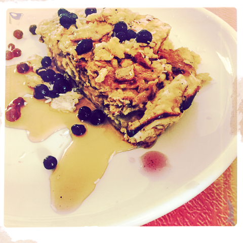 5 boards matzo, 4 eggs, 3 tbsp butter, maine wild blueberries, maine maple syrup, shredded coconut