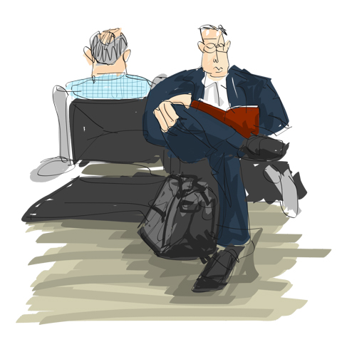 drawn to his book at gate 35x