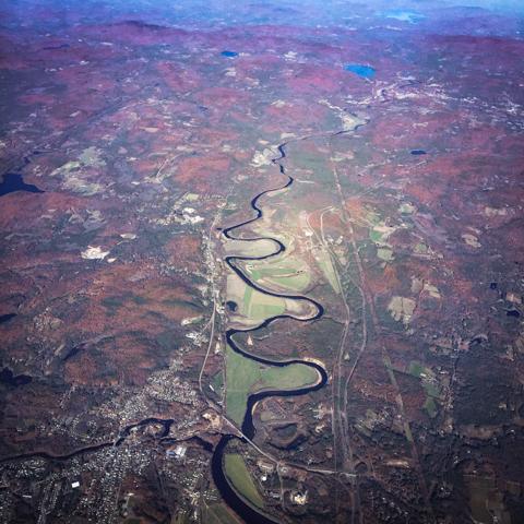 a river divides through it