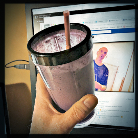 getting behind a wild-blueberry, banana, coconut smoothie