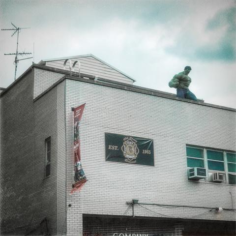 """hulk land on firehouse roof... now go inside and slide down pole... weeeeeeeeeee..."""