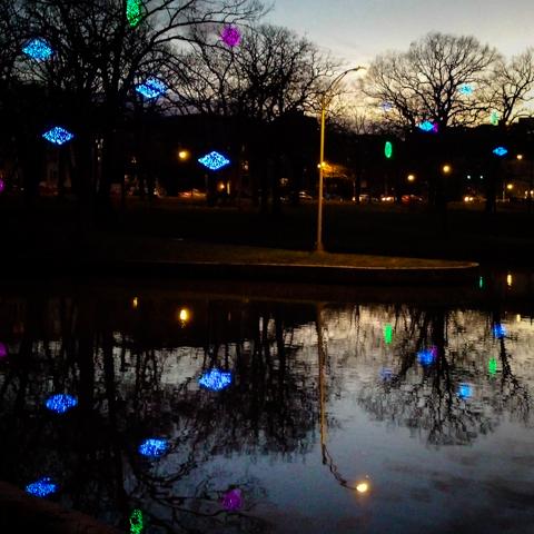 reflect on reflections. dusk at deering oaks pond