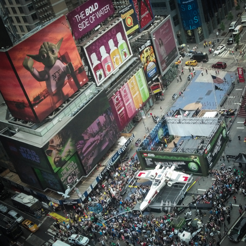 lego x wing life-sized merchandising, times square