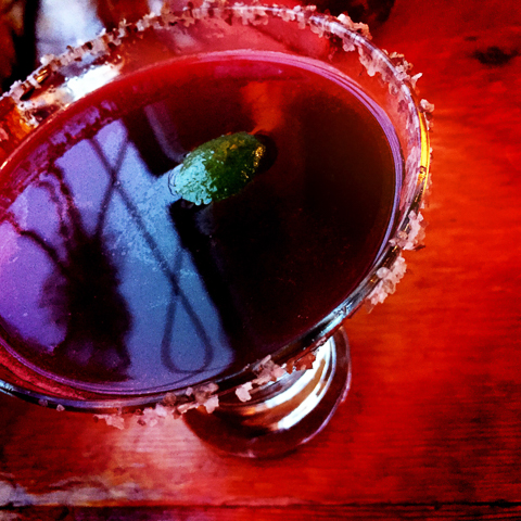 rita hayworth - ancho pepper & hibiscus infused tequila, Cointreau, house sour, served up with a salish salt rim and a lime - frontier, brunswick, maine