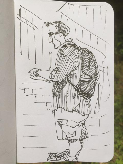 urban sketcher, sebastian meade, freeport, village, freeport, maine