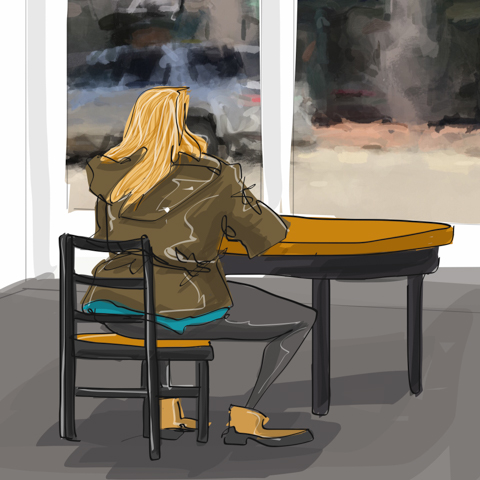 drawn to her coffee and contemplation
